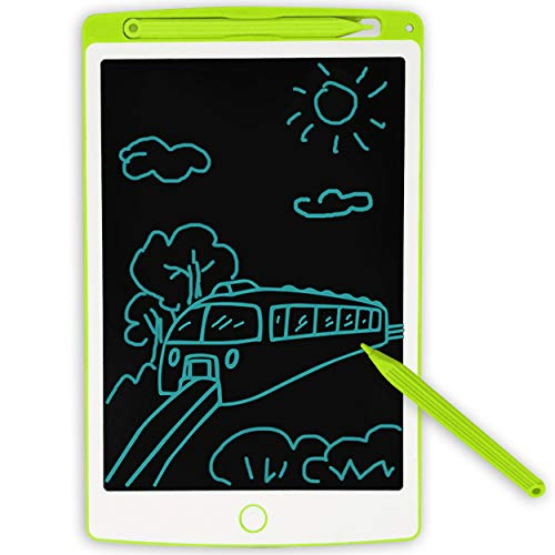 JONZOO LCD Writing Tablet, 8.5 inch Mini Electronic Doodle Board Kids Drawing Board, Digital Handwriting Pad with Pen, Erasable Reusable eWriter Paper-Saving Tool for Home/School/Office, Green