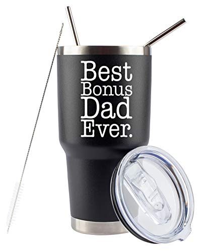 Bonus Dad Gifts | Best Bonus Dad Ever | Large 30oz Tumbler/Mug with Lid and Straws for Coffee Cold Drinks | Unique Stepdad Gifts from Daughter Stepfather In Law | Funny Cup for Christmas By JENVIO