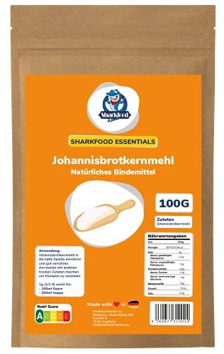 Sharkfood Johannisbrotkernmehl – pflanzliches, glutenfreies Bindemittel, Verdickungsmittel, Geliermittel – veganer Ei-Ersatz, Gelatine-Ersatz, Mehl-Ersatz zum Kochen und Backen – 100 g