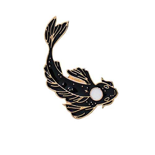 FISH4 Spille e Spille per Animali Pesce Rosso Adorabile Merluzzo Bianco e Nero Regali di Buon augurio Gioielli fortunati Abbigliamento da Immersione Distintivo in Metallo