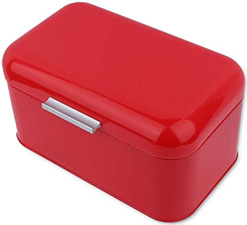 Brotkasten,große Kapazität Einfarbig Vintage Metall Brotbox,brot Aufbewahrungskasten Mit Deckel,für Hausgemachte Maschine Brot Kühlschrank Reise Camping Bäckerei Café 30,5 X 20 X16cm Rot