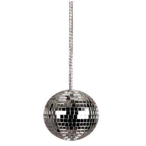 PARTY DISCOUNT Kette Disco-Kugel an silberner Kordel, 4cm, 1 STK.