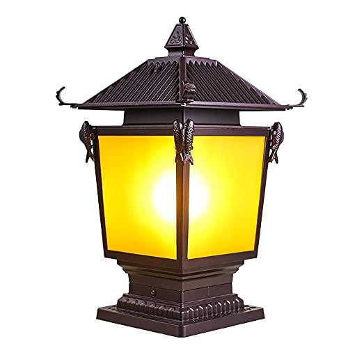 XKUN Europa Linterna de Vidrio Lámpara de Columna de Paredlámparas de Pilar de Jardín Al Aire Libre Chinas Retro Chapiter Lámparas de Pared de Panel Led Residenciales Lustre Aplique Porche Valla Exte