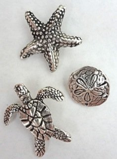 Antique Silver Sea Life Push Pins, Set of 15