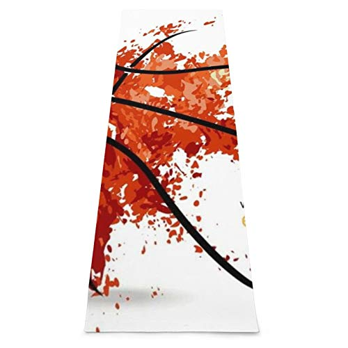LOSUMIGE Esterilla Yoga Naranja Basket Abstract Basketball Ball Deportes Recreación Jugador Línea gráfica Insignia Torneo de aro Colchonetas de ejercicio Pilates para entrenamiento en casa Gimnasio
