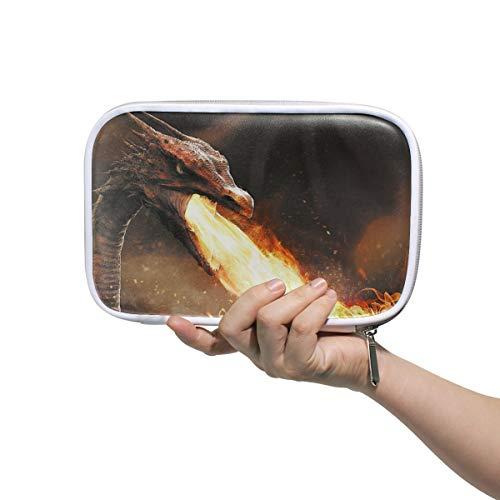 Linomo Multifunktional Federmäppchen Feuer Drachen Reißverschluss Leder Passhülle Bleistift Beutel Klein Kosmetiktasche Makeup Tasche für Mädchen Teenager Junge Kinder