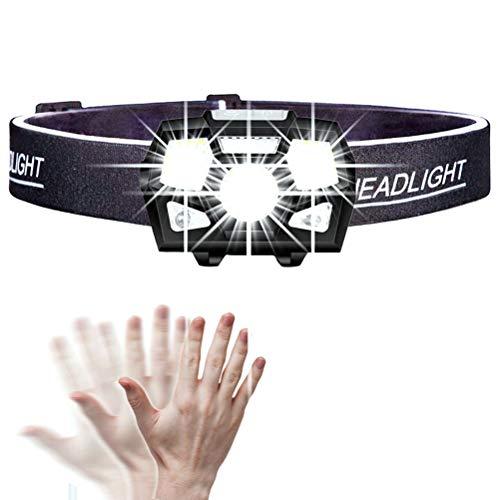 KADDGN Stirnlampe mit 10000 Lumen, LED-Scheinwerfer-Bewegungssensor Ultrahelle Schutzhelm-Stirnlampe Leistungsstarker Scheinwerfer USB-wiederaufladbare wasserdichte Taschenlampe