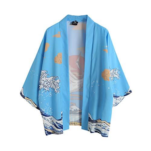 Herren Kimono Cardigan, Herren Casual Loose Open Front 3/4 ÄRmel Im Japanischen Stil Print Up 3/4 ÄRmel Cardigan Japan Kimono Jacke Yukata Coat Baggy Tops