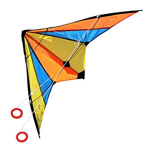 com-four® Stunt-Drachen in bunten Farben - Wind-Drache mit 50 Meter Langer Schnur - Zweileiner Flugdrachen für Kinder und Erwachsene [Auswahl variiert] (01 Stück - Stuntdrache 120 x 60 cm)