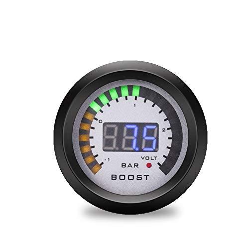 WY-YAN 52 mm 2-1 + vehículo tacómetro Digital Turbo Velocidad voltímetro acelerómetro Agua PSI Bar hidráulico Temperatura del Aceite Tacómetro (Color : Boost Gauge Bar)