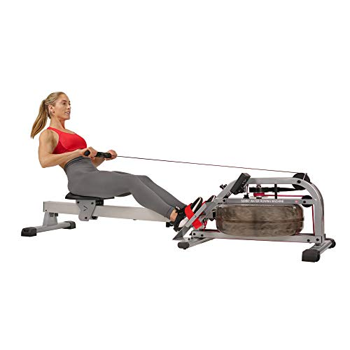 "Sunny Health & Fitness Water Rowing Machine Rower w/ LCD Monitor, 265 Max Weight, Adjustable Footpads and Foldable 48"" Aluminum Slide Rail - SF-RW5866, Gray"