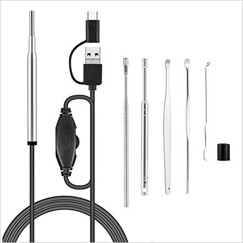 LF Ohrpickel-Endoskop, Werkzeug Zum Entfernen Von Ohrenschmalz, Digitales 3-In-1-Otoskop, Mit Wasserdichter HD-Inspektionskamera, 6 Einstellbare LED-Leuchten,