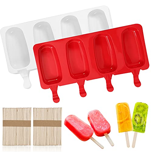 colorwood Large 2 Pack Popsicle Molds with Lid,4 Cavities Silicone Ice Pop Molds Easy Homemade Ice Cream Molds,Reusable Mould Oval with Wooden Sticks,Cake Pop Molds for DIY Ice Popsicle Maker