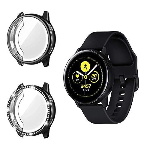TiMOVO Smart Watch Protektoren Kompatibel mit Galaxy Watch Active 2 (44mm), TPU Eingelegten Diamanten Rahmen Abdeckung Smartwatch Zubehör Kompatibel mit Galaxy Watch Active 2 (44mm) - Schwarz