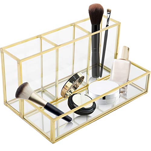 Homtone Makeup Brush Holder,Vintage Clear Glass Cosmetic Brush Makeup Organizer with Mirror Tray for Storage Perfume Nail Polish Lipsticks, 4 Compartments