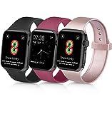 Yandu Bracelet Compatible Apple Watch Bracelet 38mm 40mm 42mm 44mm, Bracelet de Remplacement Sport en Silicone Souple Compatible...