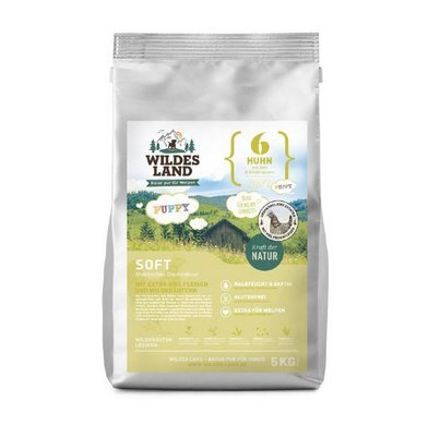 Wildes Land | Halbfeuchtes Trockenfutter für Hunde | Nr. 6 Puppy & Huhn | 1,5 kg | mit Reis und Wildkräutern | Glutenfrei | Extra viel Fleisch | Soft Beste Akzeptanz und Verträglichkeit
