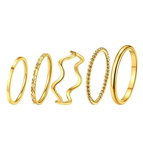 GoldChic Jewelry Juego de anillos midi apilables de acero inoxidable para mujeres y niñas, anillos de 1 mm, anillos bohemios, ajuste cómodo, tamaño 4-10, plata/rosa/oro/negro, Chapado en oro,