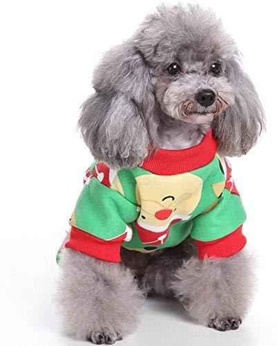 HyiFMY Disfraz de Navidad para Perros, Abrigo de Perro 100% algodn Santa Elk, para pequeo Perro Grande para Perros Gatito, s