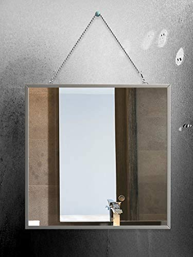 41rYgruFjyL - Cozylady Fogless Shower Mirror for Shaving - Nanometer Small Vanity Mirror Makeup Mirror with Metal Chain Locker Mirrors for Wall-Anti-Fog Bathroom Mirror Wall Mirror Anti-Drop Protection Frame