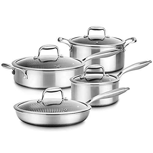 8-Piece Triply Cookware Set Stainless Steel-Triply Kitchenware Pots & Pans Set Kitchen Cookware w/ DAKIN Etching Non-Stick Coating-Sauce Pot, Stew Pot, Cooking Pot, Frying Pan, Lids-NutriChef NC3PLY8Z