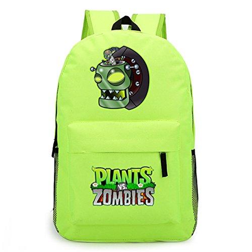 AUGYUESS Game School Bag Rucksack Daypack Bookbag Laptop Bag Backpack for Plants vs. Zombies Cosplay (green 3)