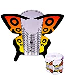 Cartine Farfalla Arancione 500 Pezzi Per Allungamento Su Unghie Naturali , Nail Form Dotate Di Millimetraggio Per Gel E Ricostruzione Manicure