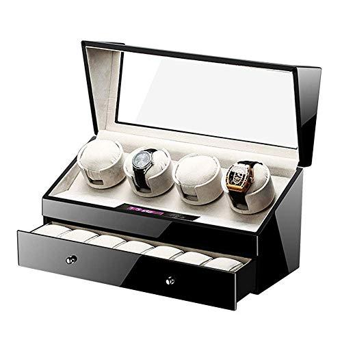 ZHANGYH Vibrador de Reloj mecánico Enrollador de Reloj automático silencioso con cajón 4 + 7 Caja de exhibición de Caja de Almacenamiento de Relojes, Pantalla Digital tá