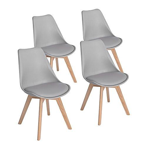 EGGREE 4er Set Grau Esszimmerstühle mit Massivholz Buche Bein, Retro Design Gepolsterter lStuhl Küchenstuhl Holz