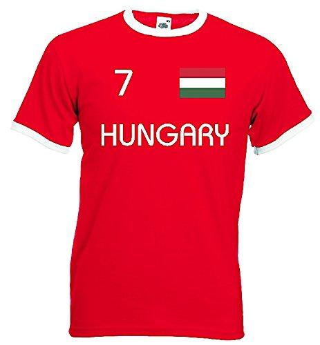 World-of-Shirt Herren Retro T-Shirt Ungarn EM 2016 Trikot Nr.7|rot-XXL