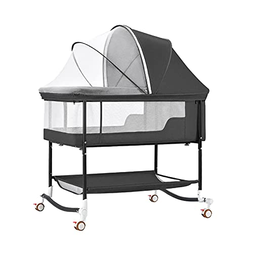 ZHZHUANG Bedside Crib,Bedside Sleeper Portable Baby Crib Side Sleeper with Firm Mattress and Breathable Mesh Toddler Bedside Baby Crib for 0-36 Months,Black