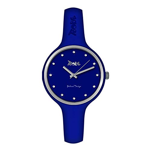 Reloj de mujer Toobe Boccadamo de silicona hipoalergénica azul eléctrico, bisel plateado...