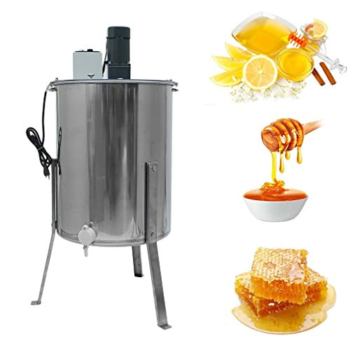 Homgrace Electric 4 Frame Stainless Steel Honey Extractor Centrifuge Tool - 110V (Silver)