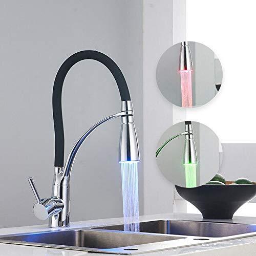 JYHW Modern Chrome LED Grifos de cocina con goma 2 modos de agua Grifo Grifo monomando para fregadero Grifo monomando monomando N22-018 CHINA Negro con luz
