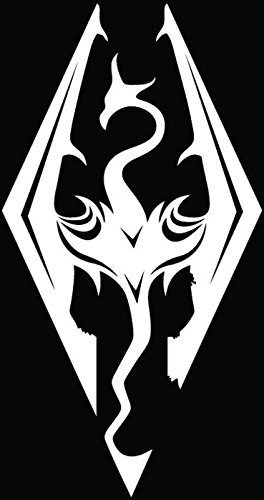 "Skyrim Imperial Logo (Dragon) - Vinyl - 5"" Tall (Color: White) Decal Laptop Tablet Skateboard car Windows Stickers"