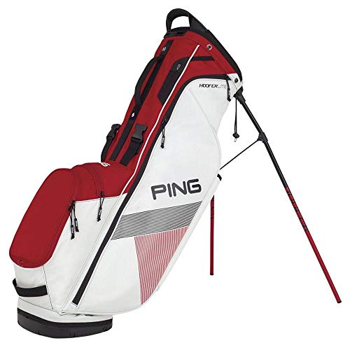 PING 2018 Hoofer Lite Carry Stand Golf Bag, White/Red/Black