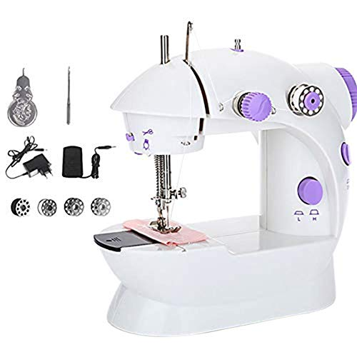 Great Price! Mini Sewing Machine Electric Portable Sewing Machine with Extended Table Dual Speed Dou...