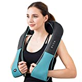 Shiatsu Back Shoulder and Neck Massager with Heat Deep Tissue 3D Kneading Massager for Relieving Muscle Pain Gift for Men / Women / Mom / Dad-- Blue