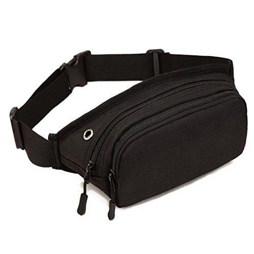 Xieben Nylon Fanny Bolsa de Cintura para Hombres Mujeres Viajes Senderismo Correr Hip Slim Bum Belt Paquete Monedero Billetera Teléfono Celular Bolsa de Hombro Negro