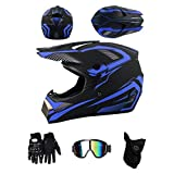 ZLCC Casco da motocross,casco integrale per adulti e bambini,con Occhiali/Maschera/Guanti, Quad Bike ATV Go-kart Stampato Moto da Cross Casco Completo (Nero Blu,XL)
