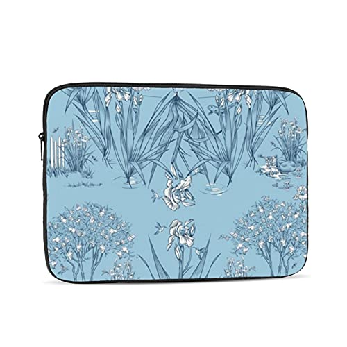 10-17 inch Laptop Case Sleeve Bag, Iris Pond Pattern Sky Blue Navy White,Waterproof Neoprene Notebook Protective Case Compatible for Computer Tablet Lenovo, HP Envy, MacBook Pro, MacBook Air
