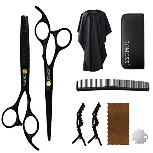 Hair Cutting Scissors Set, Professional Haircut Shears with Thinning Scissors Black Hairdressing Kit...