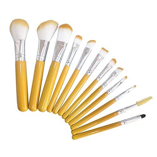 YGB Ensemble de pinceaux de Maquillage Professionnel 12 pièces Pinceau de Maquillage Jaune modèle Portable Ombre à paupières Pinceau de Maquillage Outil de beauté Professionnel