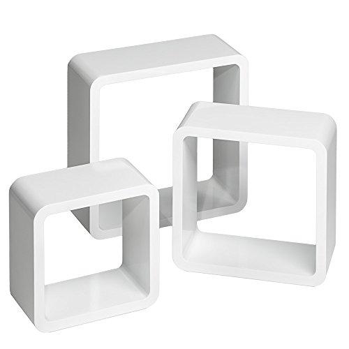 TecTake 800703 3er Set Wandregal Hängeregal im Retro Cube Design für Bücher CDs Deko, inkl. Montagematerial - Diverse Farben - (Weiß | Nr. 403180)