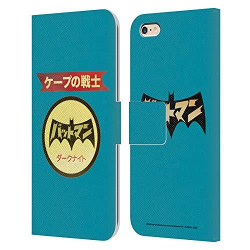 Head Case Designs Oficial Batman DC Comics Logotipo japonés Moda Vintage Carcasa de Cuero Tipo Libro Compatible con Apple iPhone 6 Plus/iPhone 6s Plus