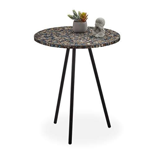 Relaxdays Tavolino Rotondo con Mosaico, Pezzo Unico, Realizzato a Mano, 50 x 41 cm, Colore: Nero/Oro, 50, 00 x 41,00cm