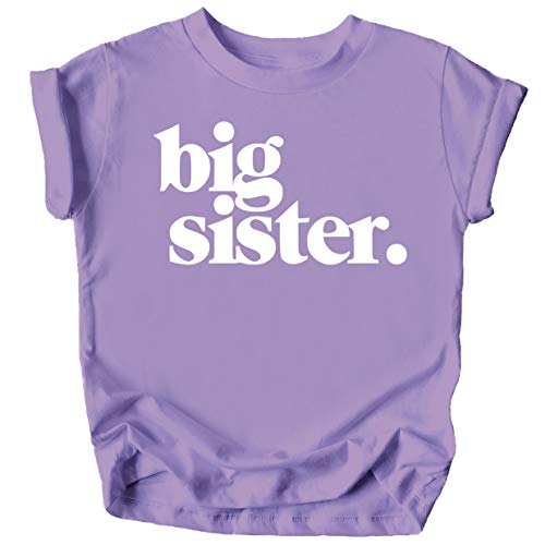 Bold Big Sister Colorful Sibling Reveal Announcement T-Shirt for Baby and Toddler Girls Sibling Outfits Purple Shirt