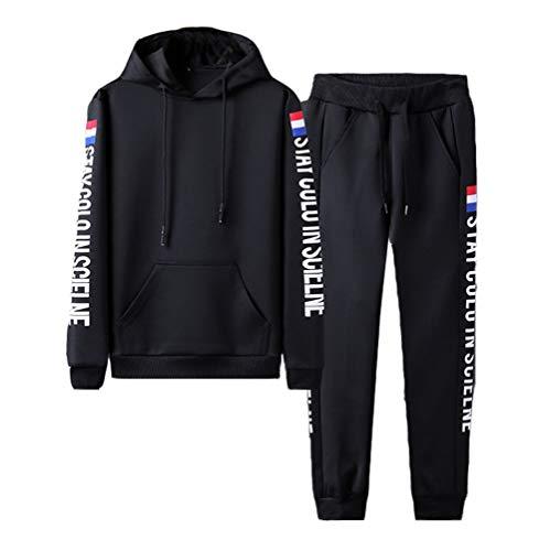 Hombres Chándal 2 Piezas Conjuntos Deportivos Encapuchado Cremallera Pullover + Pantalones Negro S
