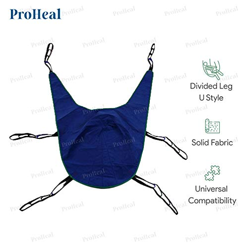 ProHeal Universal Lift U Sling, XX Large, 78'L x 48' - Polyester Divided Leg Slings for Patient Lifts - Compatible with Hoyer, Invacare, McKesson, Drive, Lumex, Medline, Joerns and More