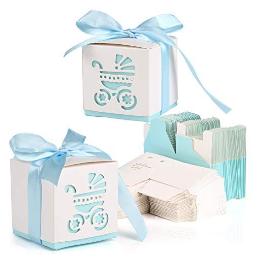 Kesote 50 Cajas de Papel para Dulces Bombones Cajas de Caramelos Bautizos Cumpleaños Baby Shower Comunion Regalo con 50 Cintas, 6 x 6X 6 CM